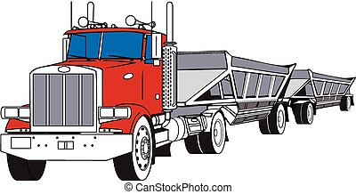 bottom dump - A big rig semi hauling a pair of bottom dump...
