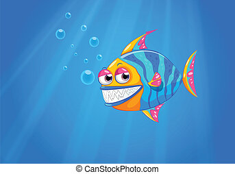 A big smiling fish in the ocean