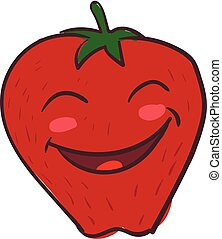 A big smiling strawberry, vector or color illustration.