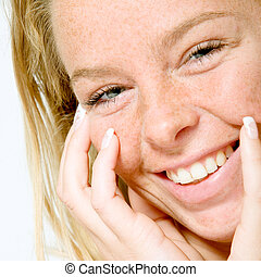 A big toothy smile - Studio portrait of a beautyfull blond...