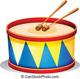A big toy drum - Illustration of a big toy drum on a white...
