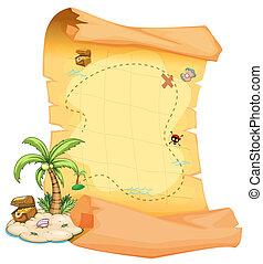 A big treasure map and an island - Illustration of a big...