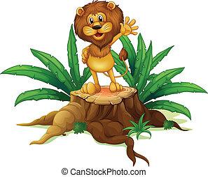 A big tree with a lion
