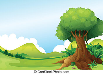 Illustration of a big tree with vine plants near the hills