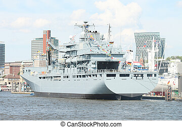 warship - A big warship in a port