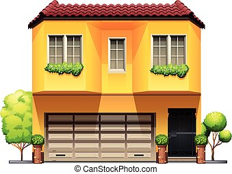 A big yellow house on a white background