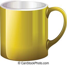 A big yellow mug