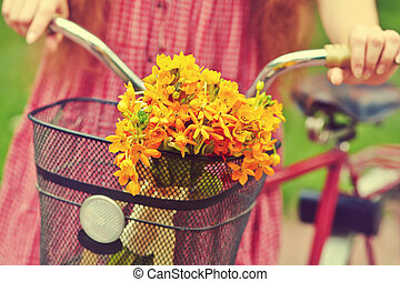 bike with flowers in a basket