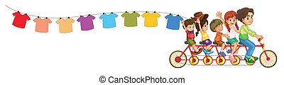 A bike with kids and the hanging clothes