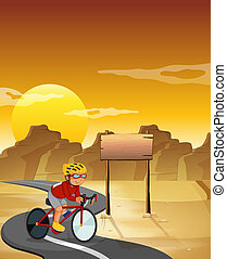 A biker at the desert with an empty signboard