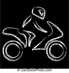 A biker on a motorbike with sketch