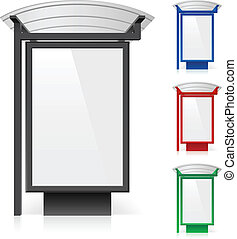 A billboard at a bus stop in different colors. Illustration...