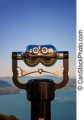 a binocular observation at Iseo lake in Italy