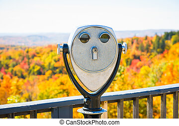 A binoscope directed to picturesque landscape