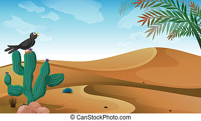 A bird above the cactus plant at the desert