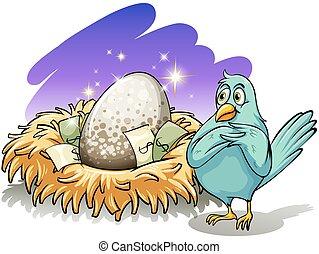 A bird beside the nest