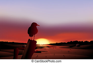 A bird in a sunset view of the desert - Illustration of a...