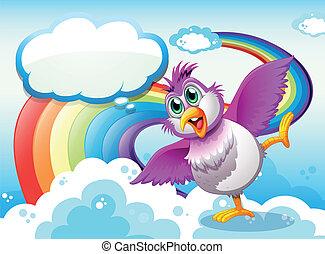 A bird in the sky near the rainbow with an empty callout