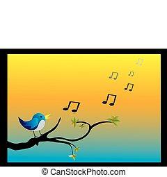 a bird on branch singing