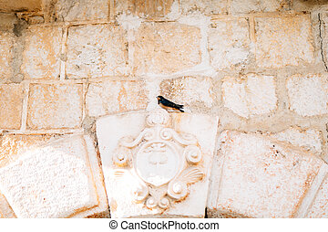 A bird sitting on the ancient wall.