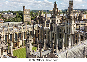 A bird view of All Soul's college in Oxford, England on a sunny day