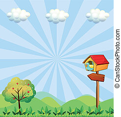A birdhouse at the hilltop with an arrowboard - Illustration...