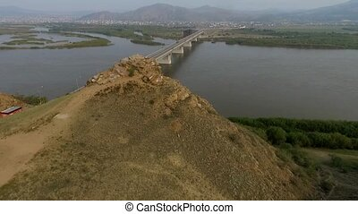 A bird's-eye bridge over the Selenga River, Ulan-Ude, Buryatia, Russia