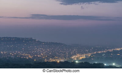 A bird's eye view before sunrise over Antalya night to day timelapse. Turkey.