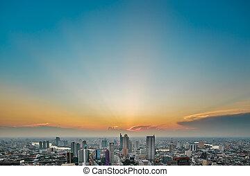 a bird's eye view of bangkok at twilight