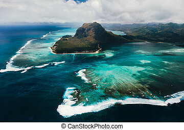 A bird's-eye view of Le Morne Brabant, a UNESCO world heritage site.Coral reef of the island of Mauritius.