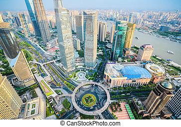 a bird's eye view of shanghai downtown - bird's eye view of...