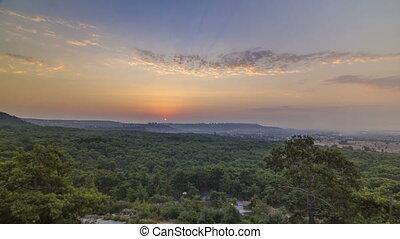 A bird's eye view of sunrise over Antalya timelapse. Turkey....