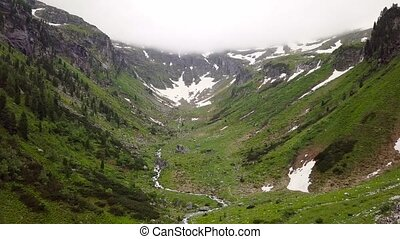 A bird's eye view of the high mountain canyon in the Alpine...