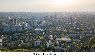 A bird's eye view, panoramic view from the drone to the Pechersk district in the city of Kiev, Ukraine