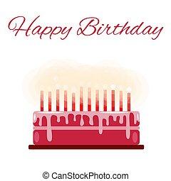 A birthday cake. Text Happy Birthday. Candles. Flat.