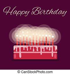 A birthday cake. Text Happy Birthday. Candles. Flat. Dark background