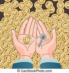A Bitcoin and Security Key in hands - Bitcoin concept