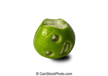 a bitten green apple with a mouth screaming in pain against a white background.