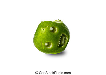 a bitten green apple with a mouth screaming in pain against a white background