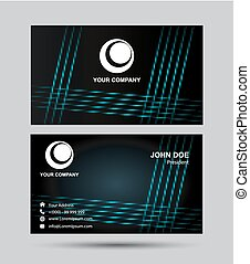A black and blue grid Business card