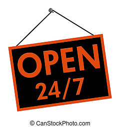 Open all day and every day sign - A black and orange sign...