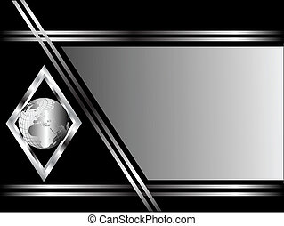 A black and Silver Business card or Background Template with a silver globe in a diamond