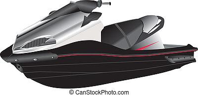 Jet Ski - A Black and Silver Jet Ski isolated on White