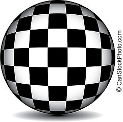 checkered sphere - A black and white checkered sphere in...