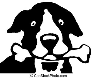 dog - a black and white dog with bone