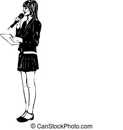 girl with microphone - a black and white girl with...