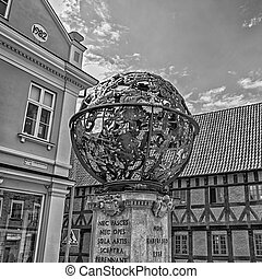 A black and white image of the Tycho Brahe Monument situated in the Swedish city of Helsingborg.