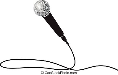 a black and white microphone