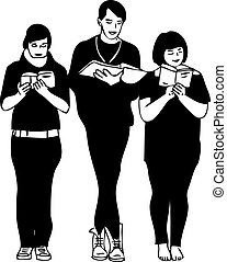 a black and white picture three readers