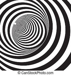 A black and white relief tunnel. Optical illusion. Vector...
